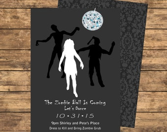 Zombie Ball Invitation - Grey and Dark Grey