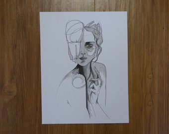 Abstract Monochrome Woman Drawing