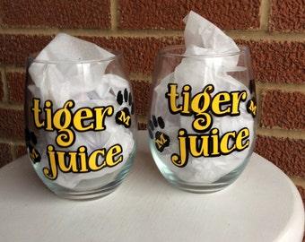 MIZZOU Tiger Juice Stemless Wineglasses - Set of Two