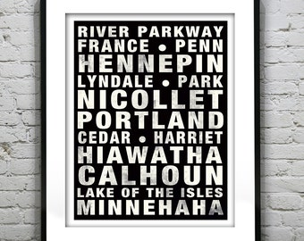 Presidents Day Sale 15% Off - Minneapolis Minnesota Poster Art Subway Print