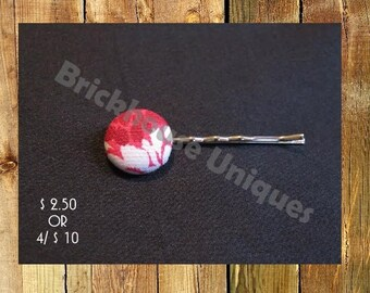 Red and White Flower Bobby Pin
