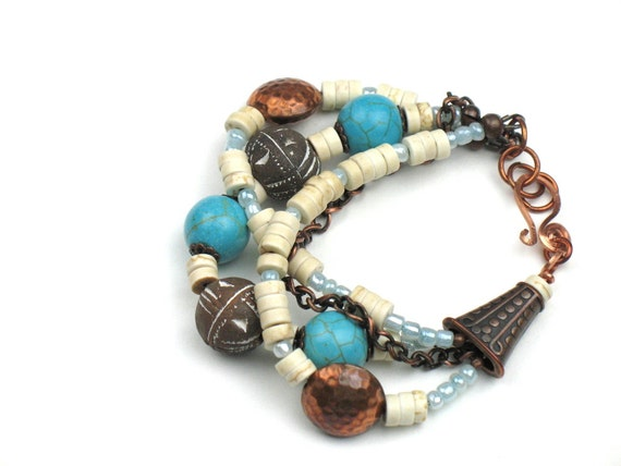 Multi Strand Bohemian Bracelet with Copper, Turquoise Howlite and Earthy Mali Clay Beads