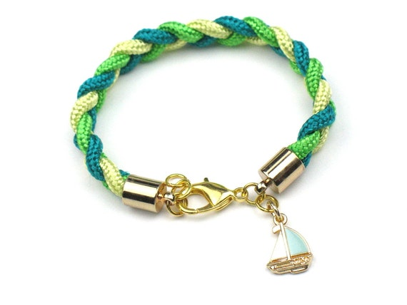 Nautical Bracelet in Green with Braided Yellow and Teal Mokuba Rope and Sailboat Charm
