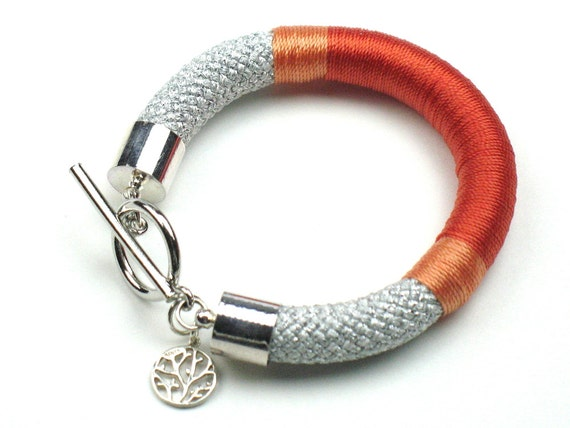Silver Tangerine Rope Bracelet, Featured in Bead Style Magazine, Orange Coral Wrapped Climbing Cord, Textile Jewelry For Her by elle & belle