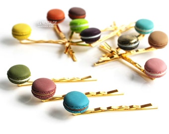 Trio French Macaroons Gold Hair Pin Macaroon Candy Accessories Glow-in-the-dark Polymer Clay Gift Ideas For Her