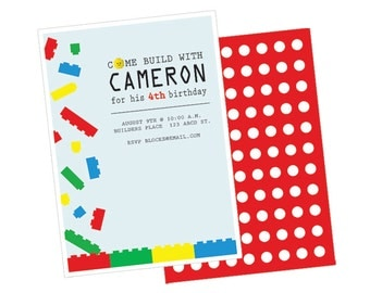 Lego Birthday Party Invite (Digital File)