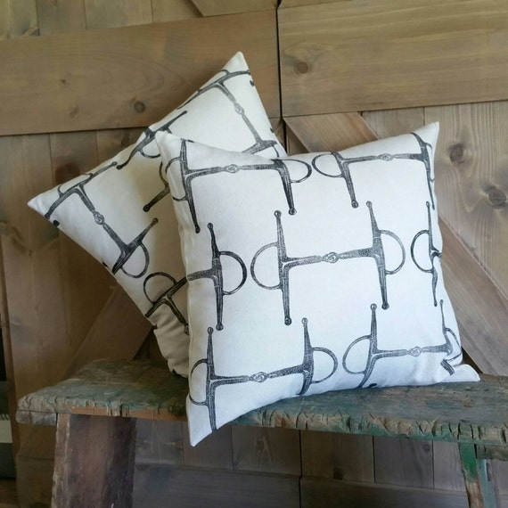"Equestrian Pillow Cover Set of Two 18""x18""- handprinted Full Cheek Snaffle Bit- COVERS ONLY"