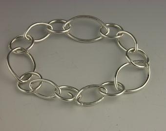 "Fine Silver Marquise & Round Chain Link 7"" Bracelet"