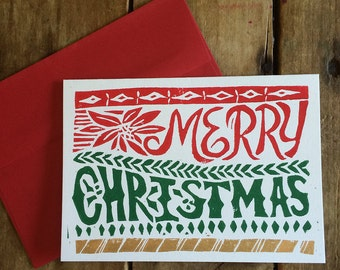 Merry Christmas -- Block Print Christmas Cards, Hand Lettering