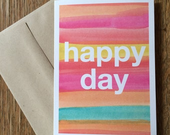"""Watercolor Greeting Card """"Happy Day"""""""