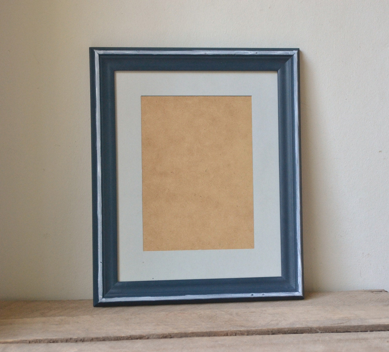 navy blue photo frame with white accents 8x10. Black Bedroom Furniture Sets. Home Design Ideas