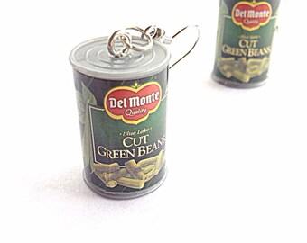 Del monte canned green bean toy earrings