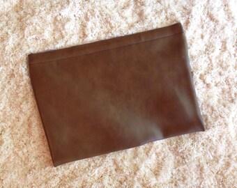 Vegan Leather Vintage Oversized Clutch / laptop Ipad Bag