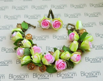 Handmade jewelry set, Polymer clay roses, Fimo Earrings, Polymer clay rose bracelet, Fimo Flowers, Pink green clay roses, flower jewelry