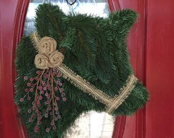 Custom Cow Wreath with Burlap