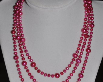 Genuine Pearl Necklace Strand Hot Pink Graduated Hand Knotted Cultivated - 53 inch #700