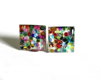 Rainbow glitter studs, Sparkle studs, Rainbow glitter square studs, stud earrings, fancy earrings, glitter earrings, glitter jewelry