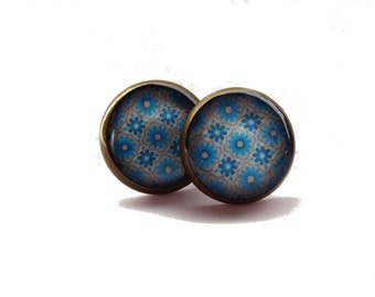 Blue Stud Earrings - Oriental Style Pattern - Ornamental Earrings - Orient Jewelry - Tribal Boho Gypsy