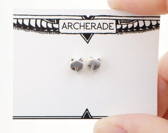 Foxy studs - Sterling silver Stud Army earrings - handmade mix 'n match pair