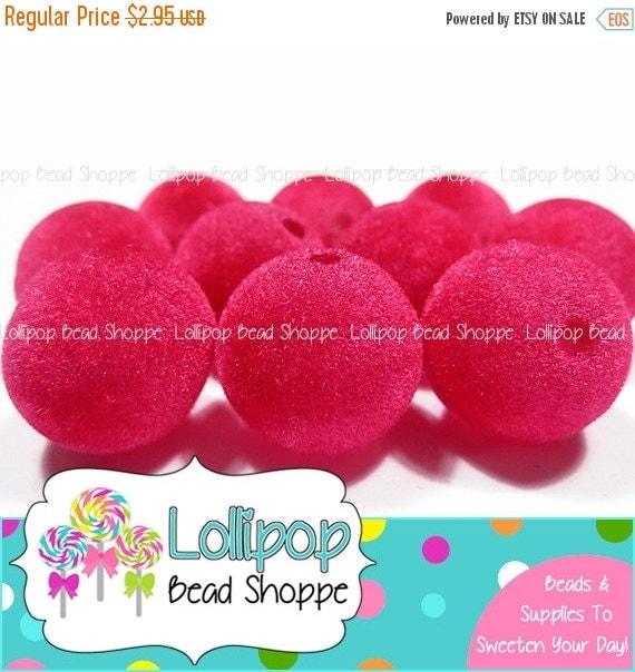 sale 20mm hot pink velvet beads chunky by lollipopbeadshoppe. Black Bedroom Furniture Sets. Home Design Ideas