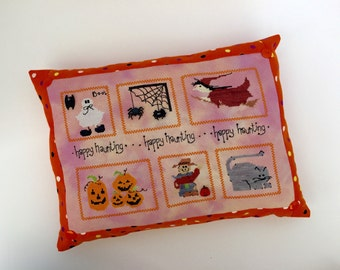 Happy Haunting Halloween cross stich pillow, orange, finished, completed