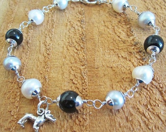 Onyx and Freshwater Pearl Sterling Silver Bracelet with Pit Bull