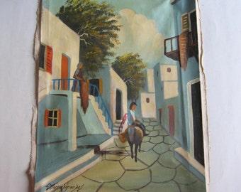 vintage original acrylic painting, Greek aegean island traditional life, Papadopoulos