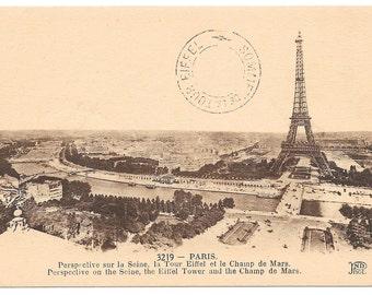 Paris Panorama with Eiffel Tower Photo Postcard, c. 1910