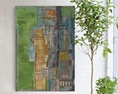 """Abstract painting yellow and blue modern original large canvas art 39.37/27.5(100/70cm). Free shipping! """"City XY""""."""