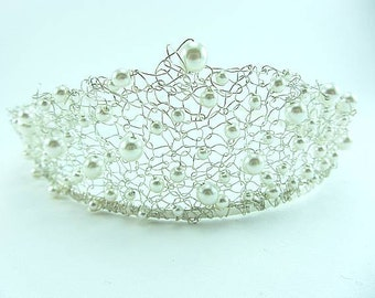 Silver Wire Tiara, Bridal Hair Accessory, Pearl Tiara, Headband, Knitted Wire
