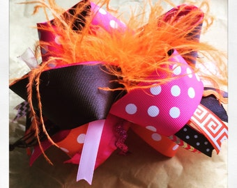 Pink Brown and orange Bow
