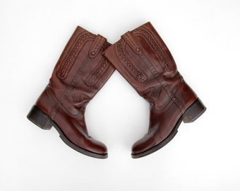 Vintage boots // Ash burgundy leather tooled boots // size 38, 7.5