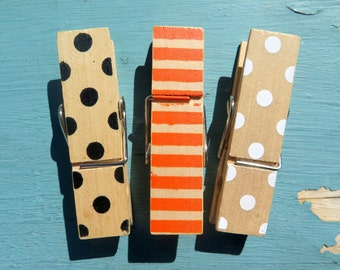 3PCS - Wood Clothespins - Polka Dots and Stripes - 70x20mm - Large Clothespins - Halloween Pins