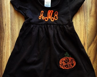 Infant girls monogrammed halloween dress