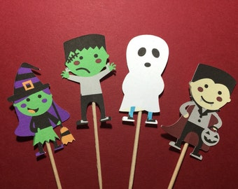 Halloween Cupcake Toppers - Trick or Treaters - food Picks - Party Decor - Trick or Treat - Halloween Party - Halloween Costumes