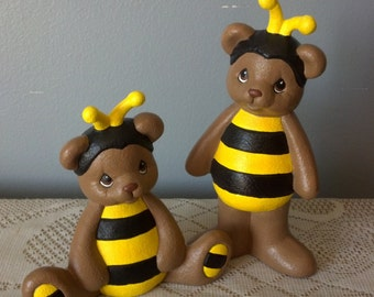 Teddy Bears in Bumble Bee Costumes set of Two