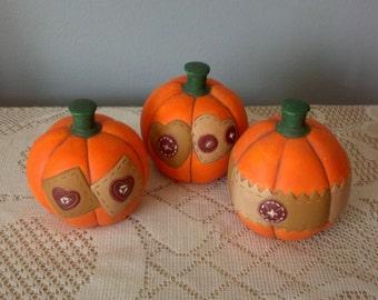 Ceramic Homespun Country Pumpkins set of Three