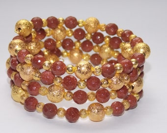 Goldstone and Gold Stardust Wrap Bracelet