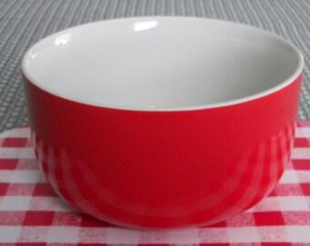 Hall China, Hall Red Mixing Bowl, Retro Kitchenware, Red Bowl, 1940's Kitchenware, Mid Century Kitchen, Collectible Kitchen, Red China Ware