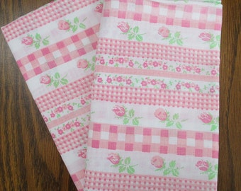 "Tea Rose Flowered Pillowcases, Pink Roses,Old Poly/Cotton,Pink and Green, Little Girls,-Set of 2,""Shabby Sweet""Retro 70's,Olden Days Charm"