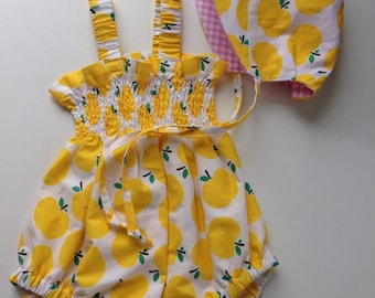 Baby Bubble Sunsuit with matching bonnet - Yellow Apples