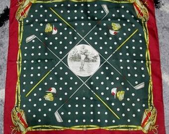 Vintage Gucci Golf Theme with Monogram Golf Set Pattern 100% Silk Twill Scarf - Free Shipping