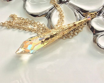 Crystal Pendulum, Swarovski Crystal AB Pendant Necklace, Pendulum Pendant, Crystal Necklace, Icicle, Magic Pendulum, Wiccan Pagan Filigree