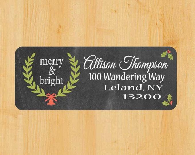 Holiday Address Labels | Holiday Rectangular Labels | Christmas Address Label |  Return Address Label | Chalkboard label | Vintage Christmas