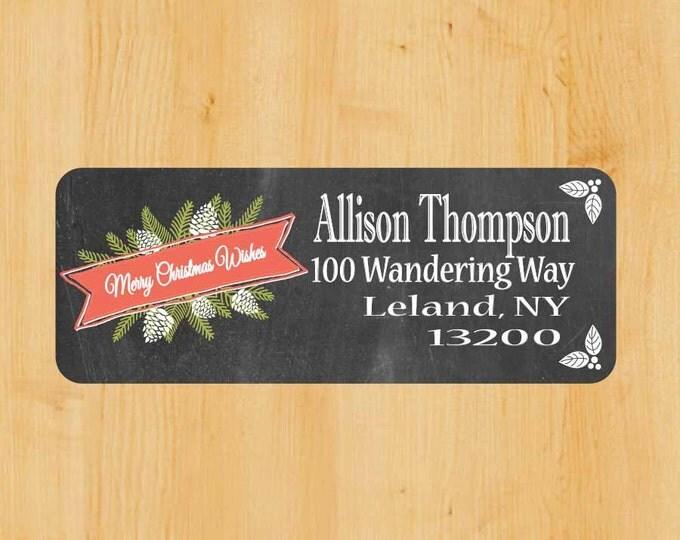 Vintage Holiday Labels | Holiday Rectangular Labels | Christmas Address Label | Address Label | Chalkboard label | Christmas Return Label