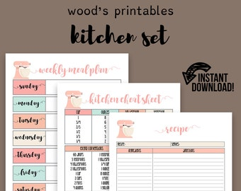 Kitchen Planner PDF Printable; Home Binder, Household Binder, Home Management Binder, Grocery List, Meal Planner, Meal Planning, To Do List