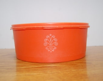 Vintage Tupperware Cookie Keeper, Canister, Orange
