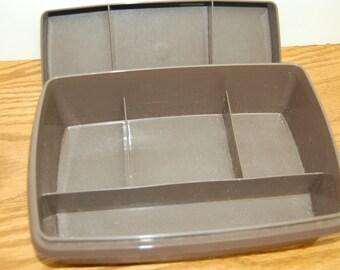 Vintage Tupperware Storage Box, Tuppercraft, Brown Tupperware box
