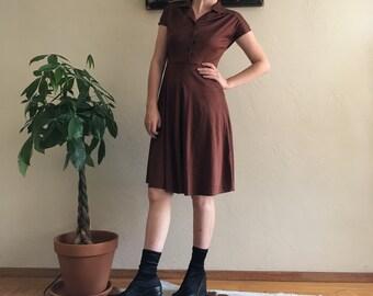 70s Brown Satin Dress