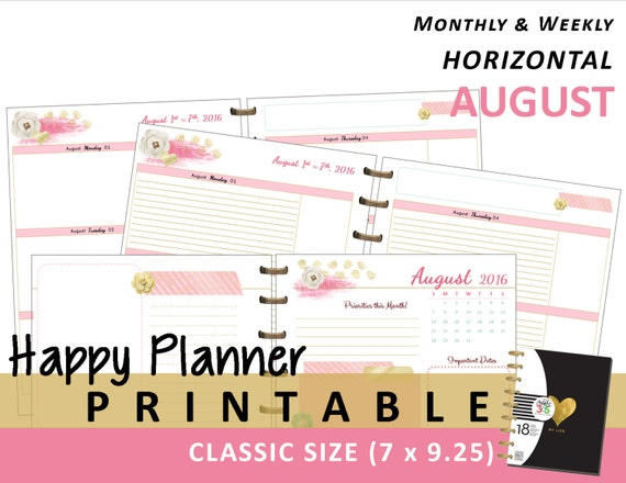 Happy Planner Calendar Refills : Happy planner august monthly weekly by